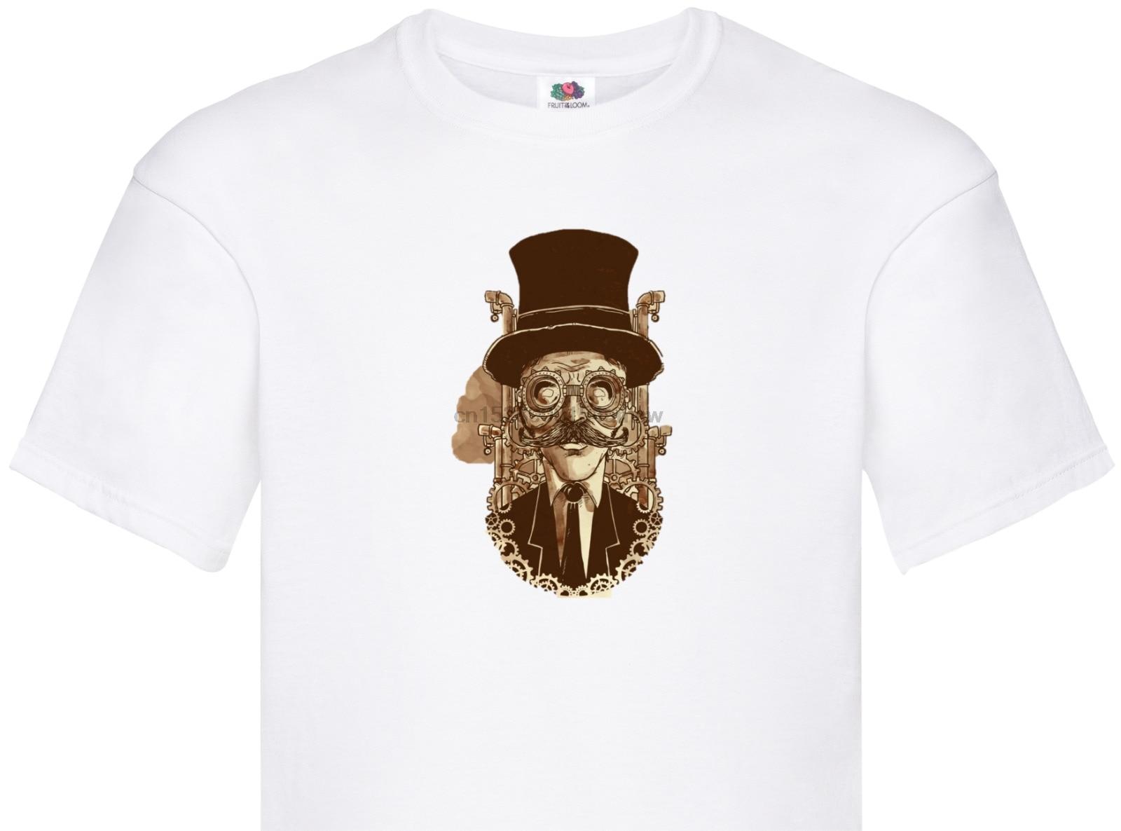Homem do chapéu Das Mulheres dos homens Unisex T shirt top steampunk 19th century olhar fresco