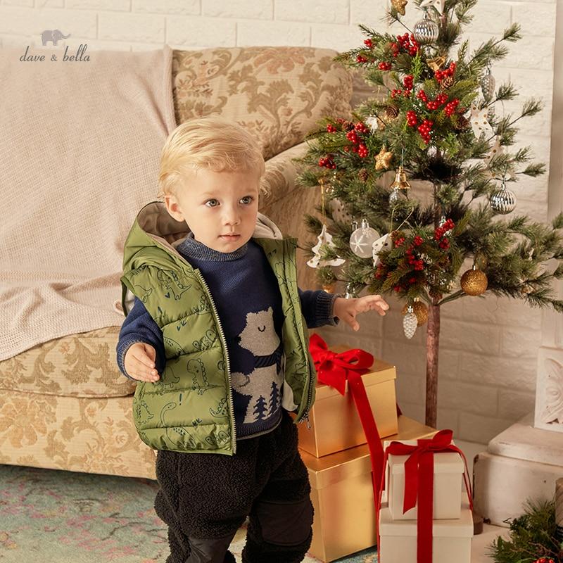 DBX20275 ديف بيلا الشتاء طفل الفتيان جيوب الكرتون عادية معطف مقنع موضة الأطفال الأطفال الصبي سترة دون أكمام
