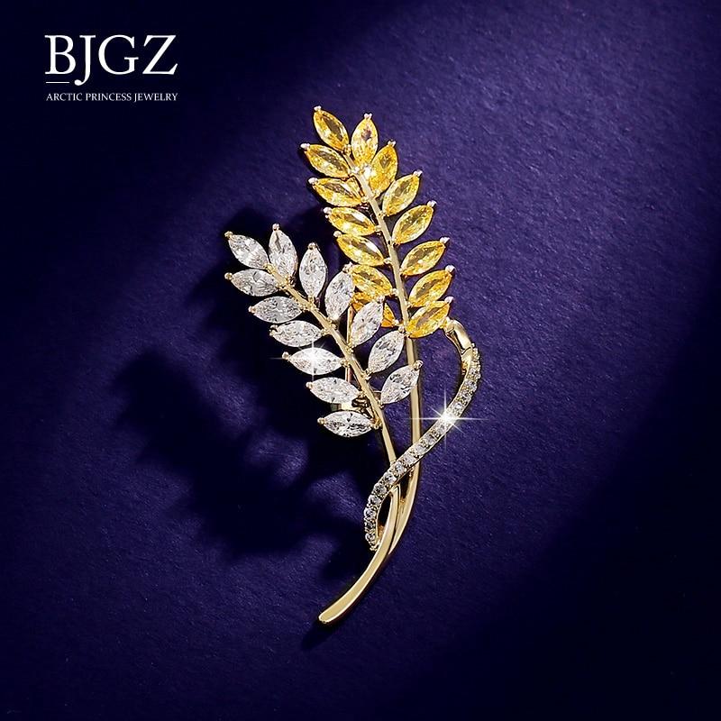 Strass espumante ouro cor paddy broche pino folhas pinos de cristal trigo orelhas broches para acessórios femininos jóias broche