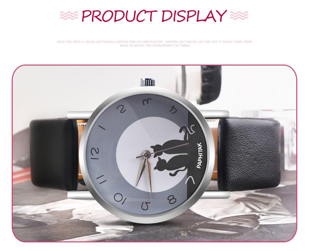 Fashion Women Faux Leather Strap Wristwatch Rhinestone Crystal Bracelet Watches Cute Cat Dial Quartz Watch For Girls Friends
