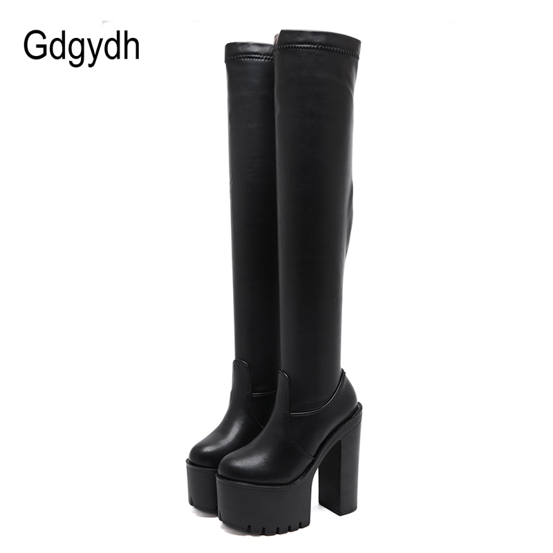 Gdgydh Thigh High Boots For Tall Women Utral High Heels Shoes Nightclub Party Platform Boots Over The Knee Women Stretch Winter kmeioo shoes woman 2018 winter pointed toe thigh high over the knee women boots stretch suede flat heel tall us size 5 15
