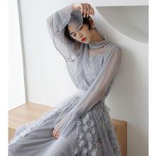 YOSIMI 2020 Frühling Sommer Zwei Stück Set Kleid Vintage Volle Hülse Pullover Hemd + Mesh Rock Bule Kleid 2 Stück set Frauen Kleid