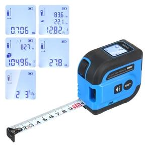 2-in-1 Digital Measuring Tape 196ft Laser Distance Meter Auto Lock 16ft Tape Measure Distance Area Volume