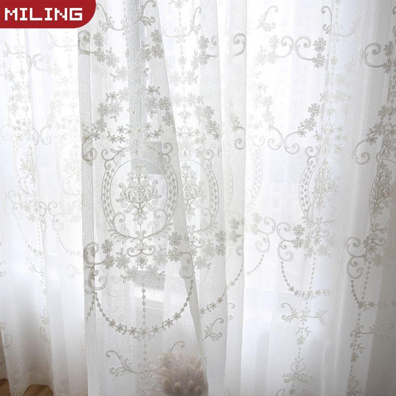 Cortinas de tul blanco bordadas para la sala de estar, cortina transparente moderna para dormitorio, cocina, ventana, tamaño personalizado