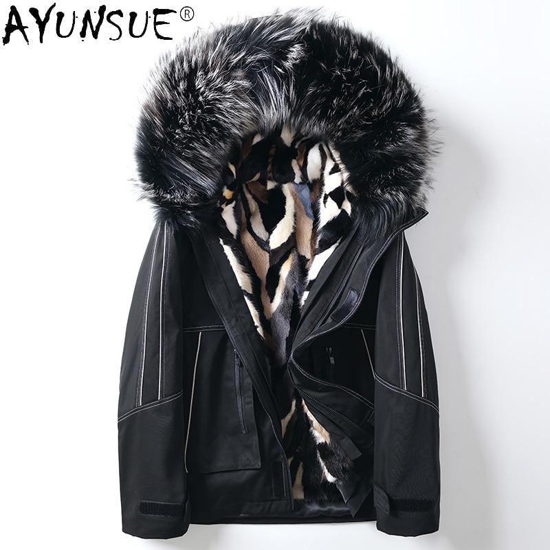 AYUNSUE-معطف رجالي من فرو المنك الحقيقي ، معطف شتوي بغطاء للرأس ، قص أصلي ، LXR974