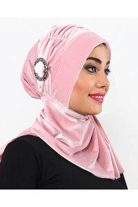 Velvet Buckled Horsehair Bonnet Hijab Women