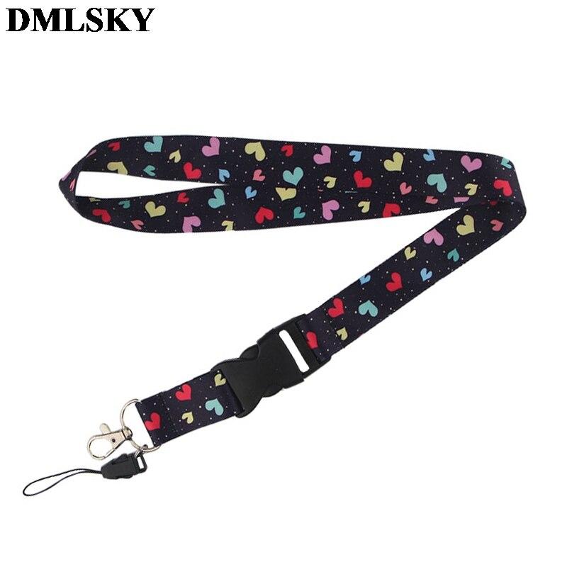 Dmlsky coloful coração cordão chaveiro bonito colhedores para chaves crachá id do telefone móvel corda pescoço correias acessórios m3822