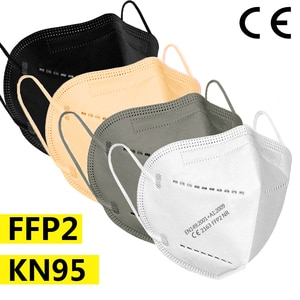 5-200 piece ffp2 face mask KN95 facial masks 5 Layers filter mask Protective maske anti dust mask mouth mascarillas black white