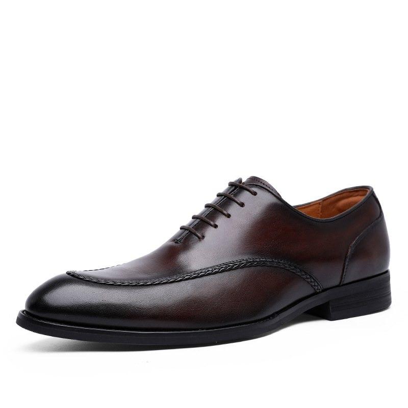 A primeira camada de couro laço-up sapatos de couro elegante vestido de negócios masculinos sapatos casuais de couro real