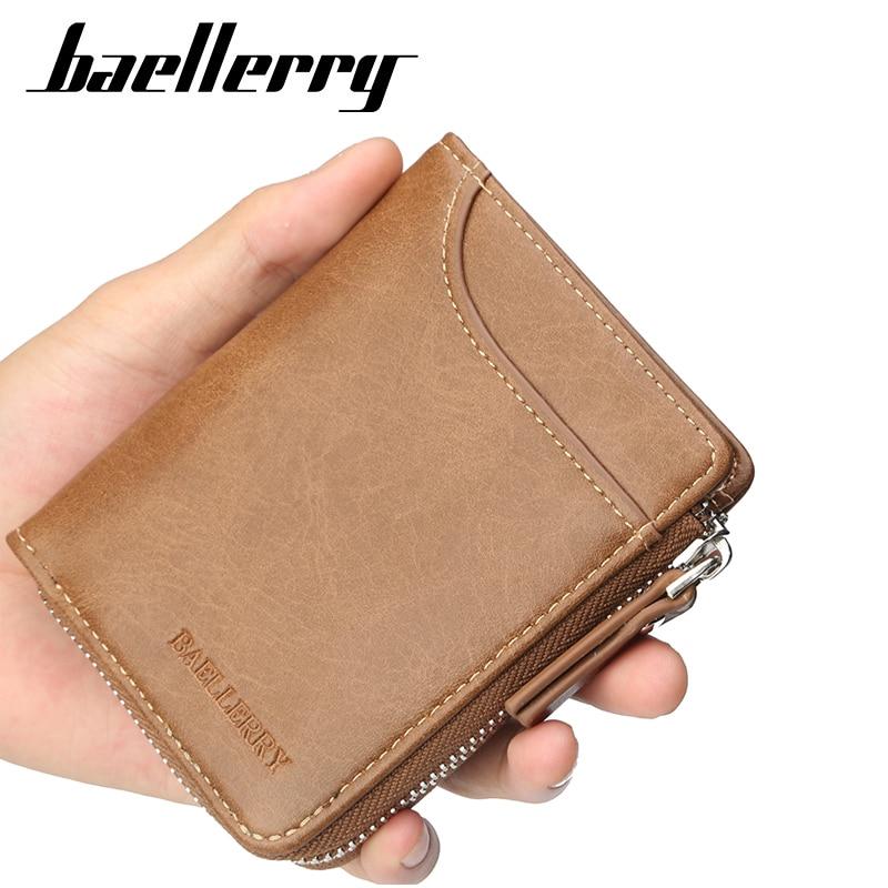 Baellerry Multifunction Zipper Wallet Men PU Leather Wallets Purse Short Male Clutch Mens Money Bag
