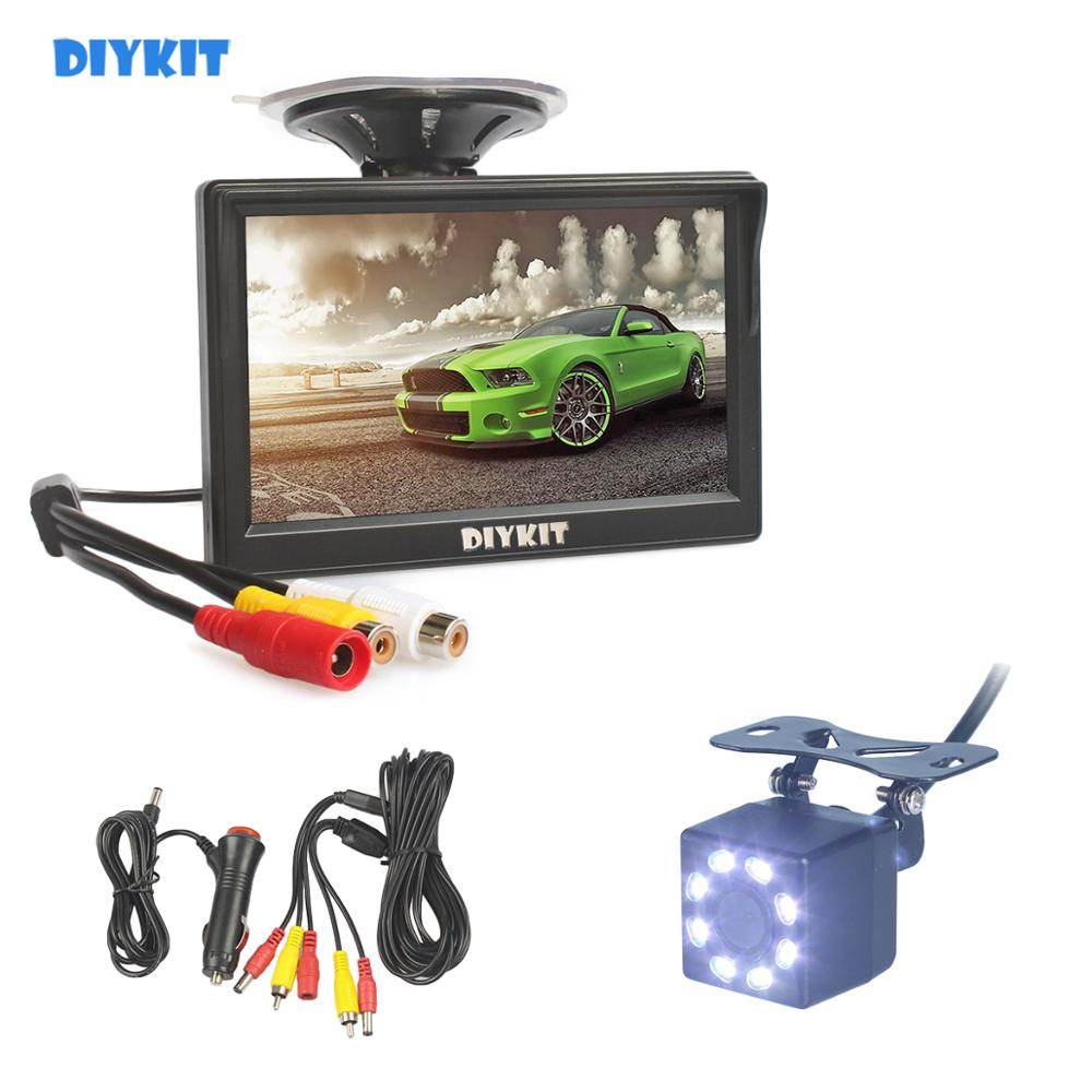 "DIYKIT 5"" 800 x 480 HD Car Monitor Waterproof Reverse 8 x LED Color Night Vision Backup Rear View Car Camera with Monitor"