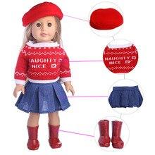 18 Inch Amerikaanse Poppenkleertjes 3 PCS Rode Hoed + Trui + Rok Kleding Set Fit Voor 43cm Baby bron & Rebron Poppen Accessoires Voor Speelgoed
