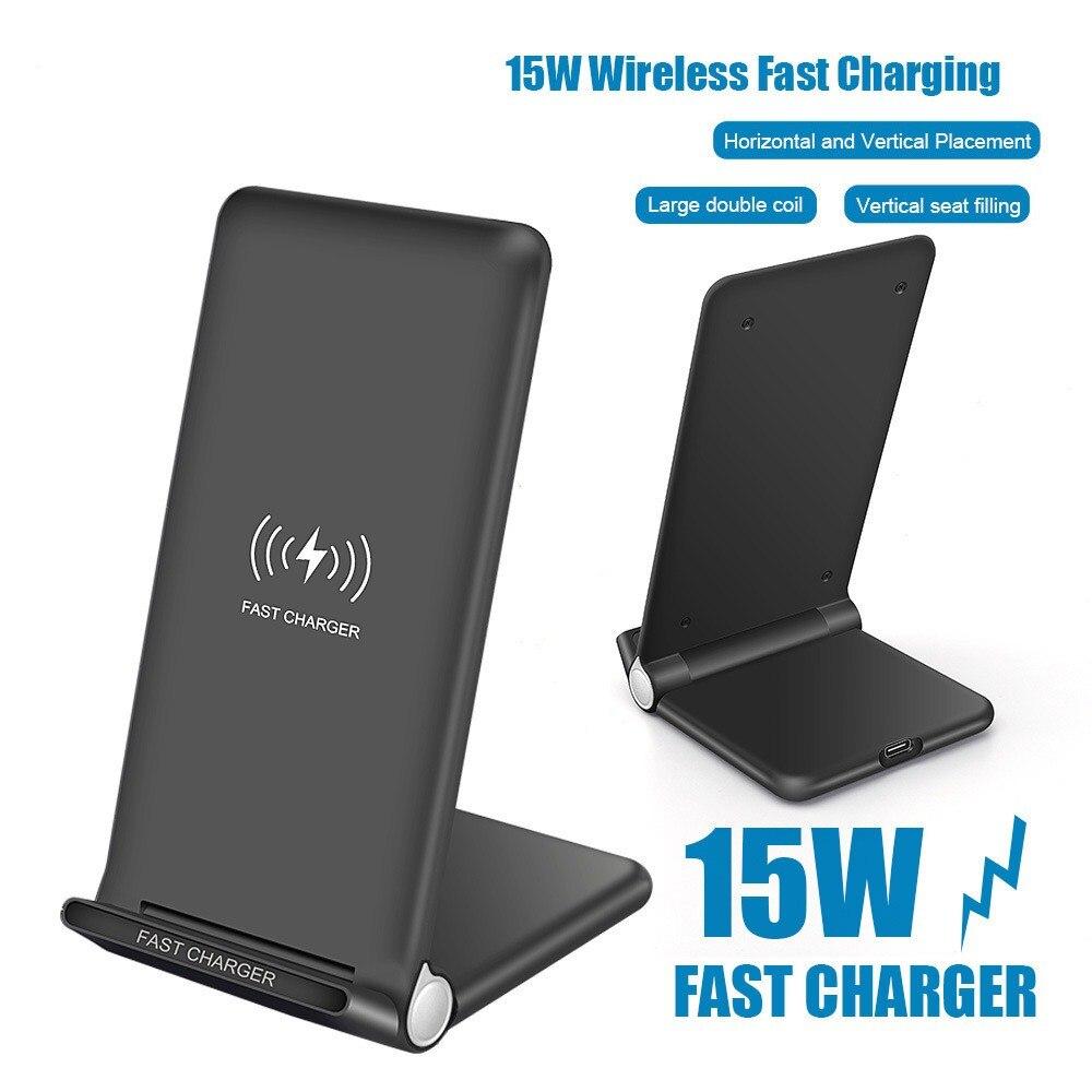 15W cargador inalámbrico Qi de carga rápida para iPhone 11 8 X XR XS Max Samsung Galaxy S8 S9 S10 más S10e Nota 9 10 soporte Base