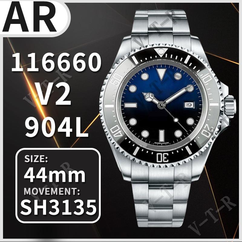 Case e Pulseira Relógio Mecânico Automático Masculino Sea-dweller 116660 D-blue Arf 1:1 Melhor Edição 904l ss Sh3135 V201 44mm