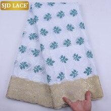 SJD dentelle vente chaude mince africain sec dentelle tissu avec des pierres suisse Voile dentelle en suisse robe douce couture pour la fête A1909