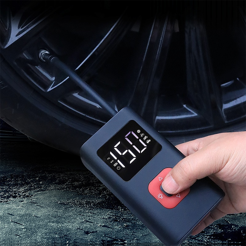 Portable air compressor Mini Tyre Inflator 150PSI with LED Light electric air pump for car motorcycle Bicycle Swim ring Balls