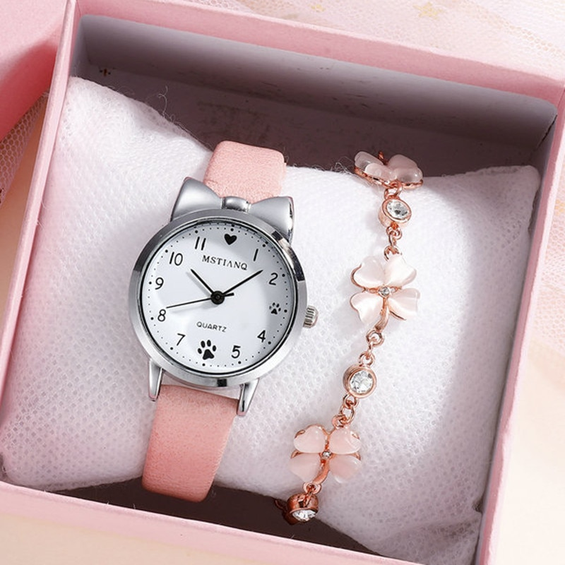 Casual Girl Watch for Kids Cute Leather Strap watch Lovely Children Quartz Wristwatch Student Clock
