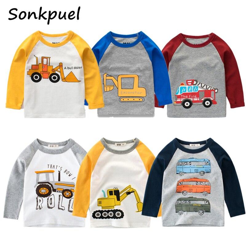 Kinder Jungen T-shirts Baby Langarm Bagger Tops Kinder Herbst Solide Baumwolle Sweatshirt 2 3 4 5 6 7 8 jahre Junge Mädchen T Shirts
