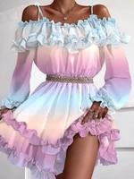 summer glirs casual a line cold shoulder long sleeve princess dress off shoulder cami ruffles frill hem multicolor print dress