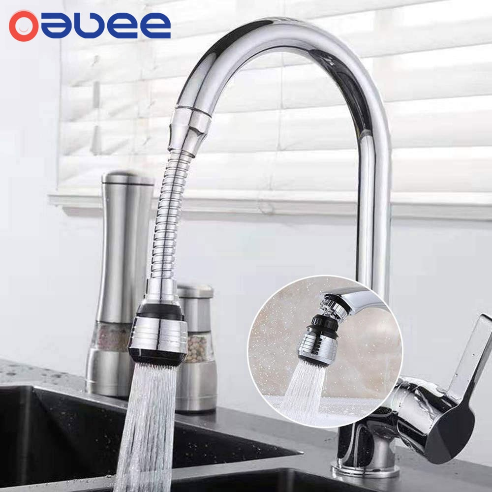Oauee 360 Degree Swivel Kitchen Faucet Aerator Adjustable Dual Mode Sprayer Filter Diffuser Water Saving Nozzle Faucet Connector