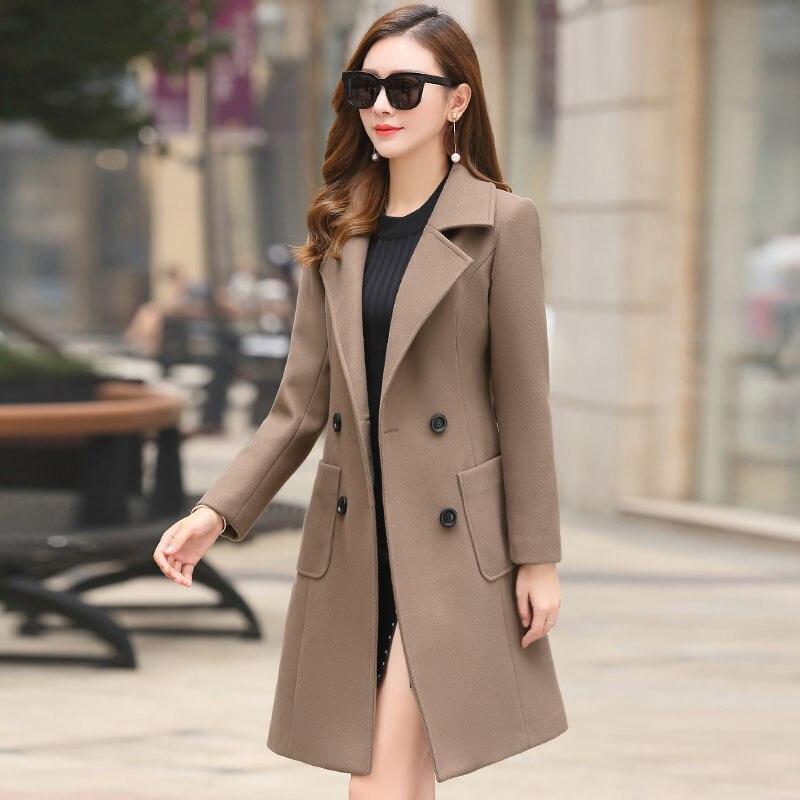 Новая Женская Куртка из Смесовой Шерсти Весна-осень 2021 Модное Шерстяное Пальто Тонкая Верхняя Одежда Женское Пальто Средней Длины