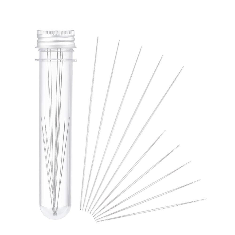 10 unids/set hierro gran ojo rebordear aguja con tubo de plástico transparente contenedores de cuentas Color platino 125x0,5mm, 75x0,5mm