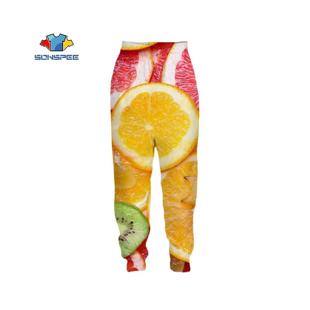 SONSPEE جديد البرتقال الفاكهة ثلاثية الأبعاد الطباعة السراويل الغذاء السراويل الرياضية الهيب هوب فضفاض مريحة خاصة لطيف المتضخم بنطلون