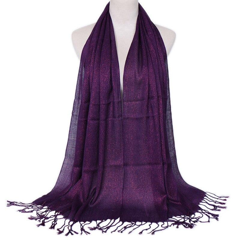 Bufanda de moda Lurex con purpurina musulmana, bufanda de mujer hijab con borlas, brillo liso, bufanda estilo chal para mujer, bufanda fina que cubre la cabeza