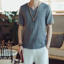 여름 남성 코 튼 린 넨 블라우스 짧은 소매 티셔츠 중국 전통 옷 남성 레트로 Hanfu 당나라 Streetwear 티셔츠 탑스