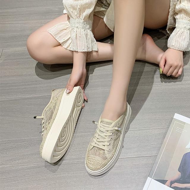 AIYUQI Fisherman Shoes Women Summer Platform 2021 Sll-match Casual Sneakers Shoes Women Korean Lace-up Ladies Shoes 6