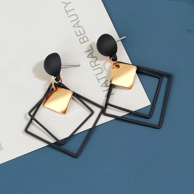 BICUX Statement Geometric Black Acrylic Drop Earrings for Women 2020 Fashion Jewelry Korean Gold Round Hollow Dangle Earring