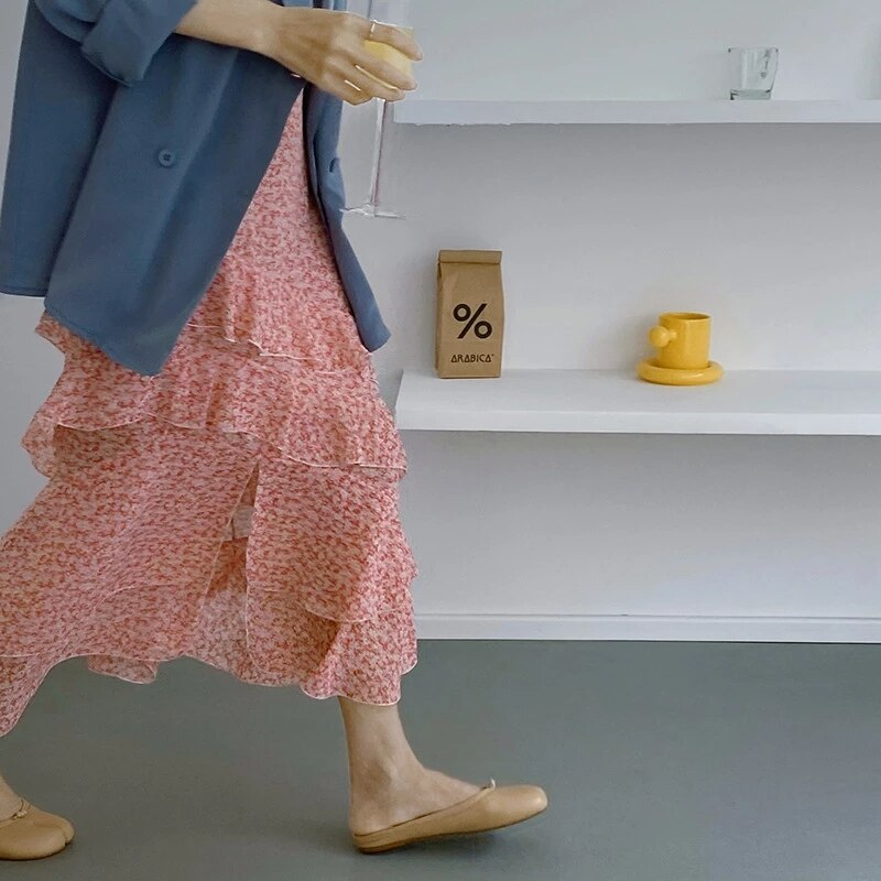 Korean Fresh Sweet Floral Print Chiffon Skirts Cascading Ruffle Split A-line Women Skirt 2021 Elegant Temperament Summer Faldas