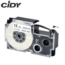 CIDY 10 Uds Compatible XR-12WE XR12WE 12mm negro sobre blanco cartucho de cinta para etiqueta CASIO de KL-120 KL-100 KL-780 KL1500