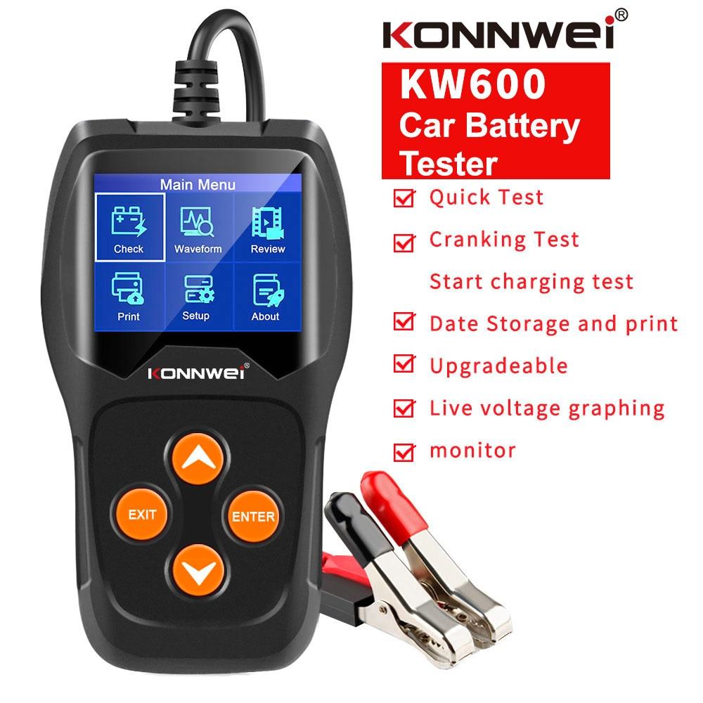 KONNWEI KW600 Auto Battery Analyzer 100 to 2000CCA Car Tester 12V Digital Color Screen Cranking Charging Car Diagnostic
