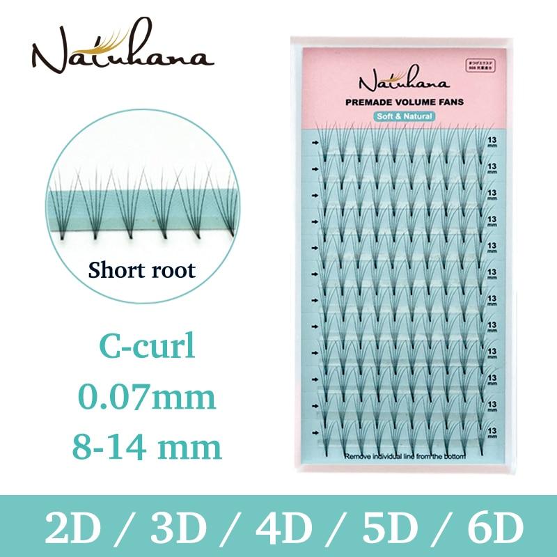 NATUHANA 2D 3D 4D 5D 6D короткие накладные ресницы готовые русские объемные вентиляторы искусственные норковые ресницы для наращивания макияж Cilios