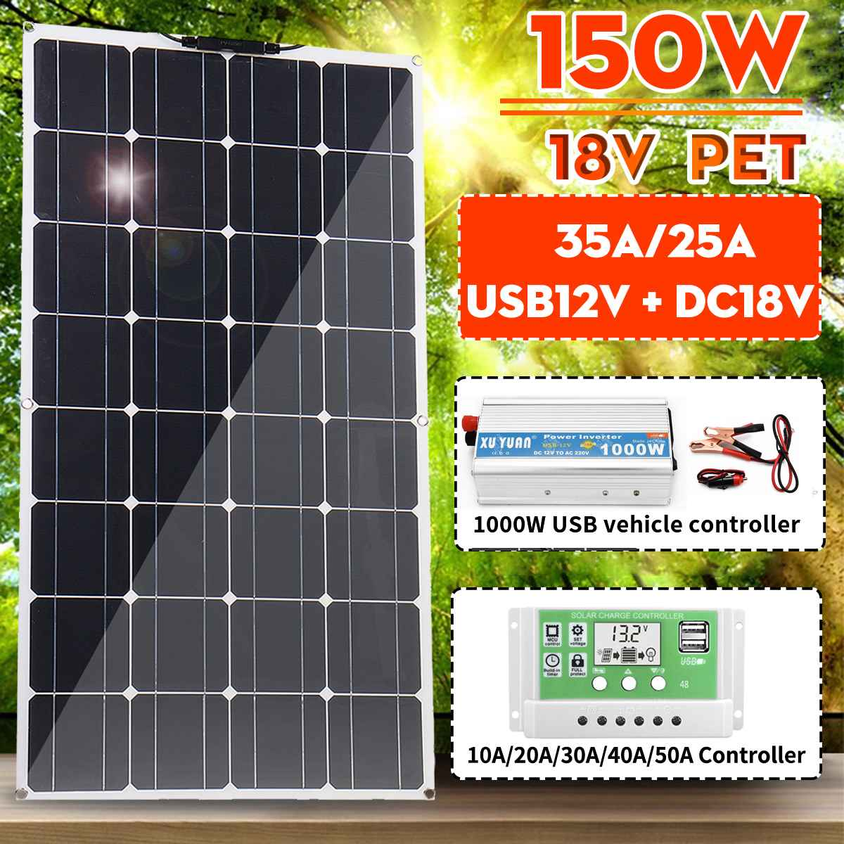 105cm150/300W Monocrystalline Solar Panel Dual USB With 30-50A Controller 1000W Power Inverter Vehicle RV Marine Battery Charger