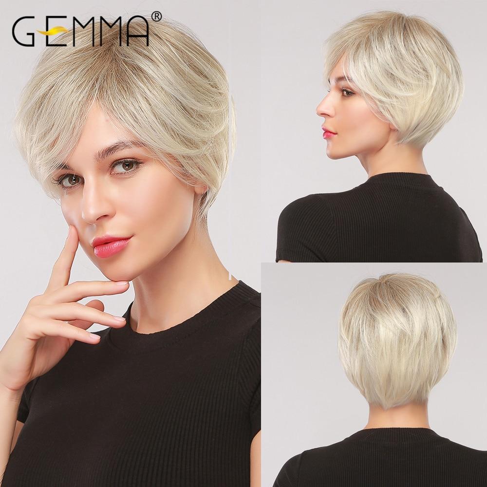 Парик GEMMA с эффектом омбре светильник-коричневый, серый, пепельный, блонд, с боковой челкой, короткие прямые синтетические парики для коспле...