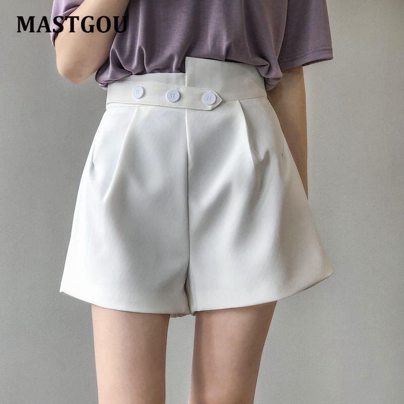MASTGOU Iregular Shorts Women's White Women Short Black Wide Leg Zipper Waist Vintage High Waist Shorts Women Summer Trousers