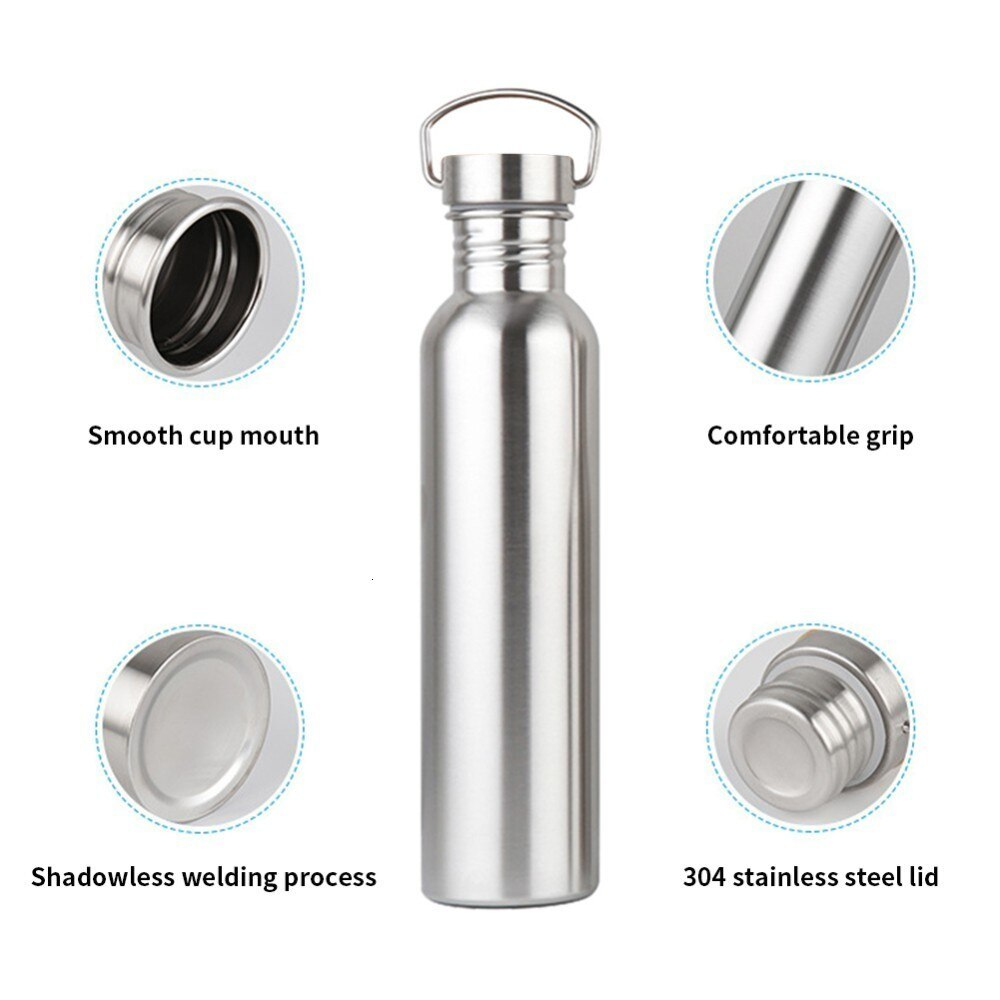 Botella de agua de acero inoxidable portátil tapa de bambú deportes frascos a prueba de fugas viajes ciclismo senderismo botellas para acampada BPA gratis