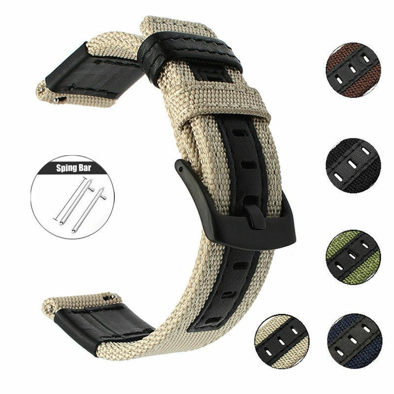 20mm 22mm Watchband for Samsung galaxy watch 46mm 42mm Nylon Leather Watch Strap For Huawei Watch GT 2 For Huawei Watch GT 2e недорого