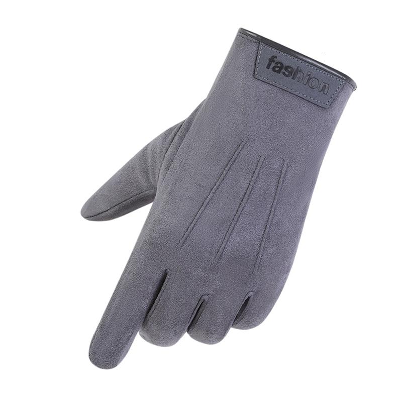 Guantes de gamuza para estudiantes para hombre otoño e invierno a prueba de viento guantes cálidos de gamuza de pantalla táctil para conducir guantes calientes 0301