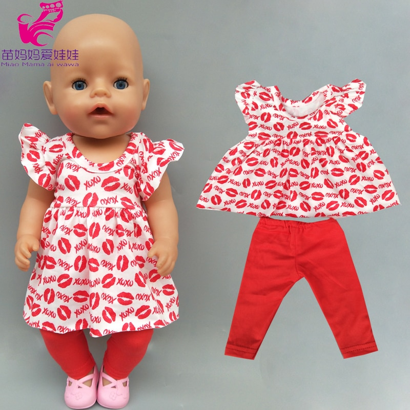 doll clothes red lips shirt dress with legging children gift 18 inch girl doll clothes dress with pants