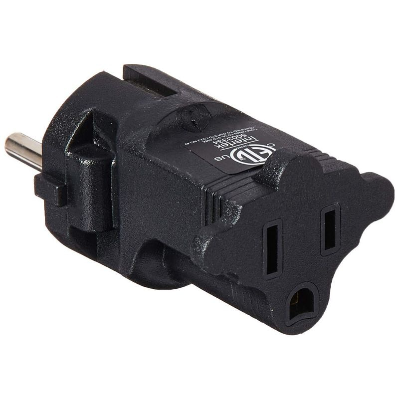 Germany, France CEE7/7 Travel Power Plug Adapter Accepts NEMA 5-15R - ETL Certified - Industrial Grade (IG-9)