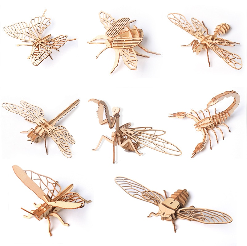Wooden variety of insects and animals stereo 3D jigsaw puzzle building blocks, toys, gifts creative DIY assembling models