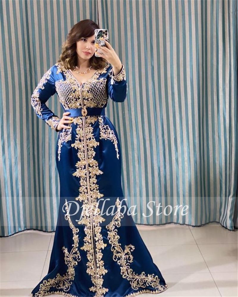 فستان سهرة دانتيل أزرق ، قفطان مغربي ، على الطراز العربي ، على شكل حورية البحر ، بأكمام طويلة