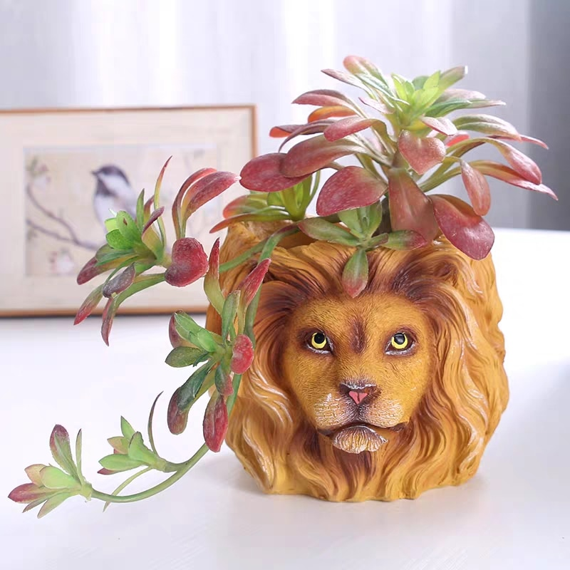 Maceta Original de resina, contenedor de maceta de León animal, maceta creativa de hombre de árbol cruzado