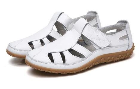 YEELOCA 2020 sandalias de gladiador de mujer de cuero partido m002 zapatos de verano Mujer ahuecan hacia fuera las sandalias planas de las señoras VC054