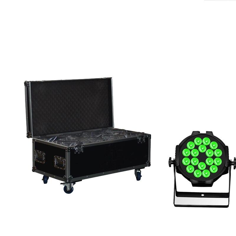 8X LOT Hex Lion haute luminosité 18X15W 5in1 RGBAW Tinit-5 couleur projecteur LED par can avec 8in1 Flight Case Powercon lumières de scène