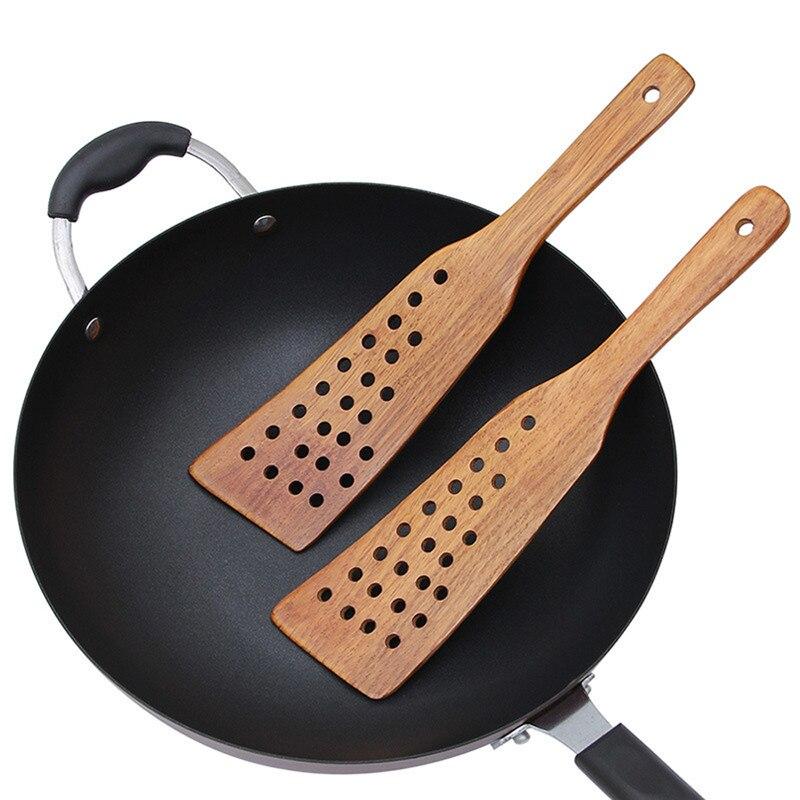 Espátula de madera con 24 orificios de drenaje, espátula para sartenes antiadherentes, espátula para huevos, filete, accesorio de cocina