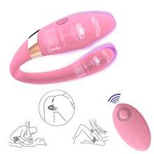 Jouet sexuel à télécommande de gode vibrant de Type U Rechargeable USB pour les femmes G Spot Clitoris Anal stimuler jouet adulte pour une utilisation en Couple
